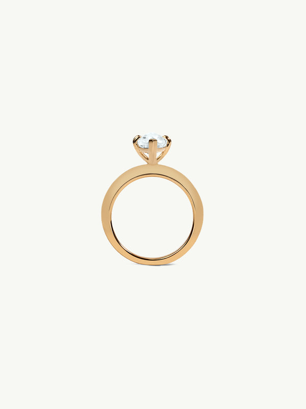 Marei Beveled Edge Solitaire Engagement Ring With Marquise-Cut White Aquamarine In 18K Yellow Gold