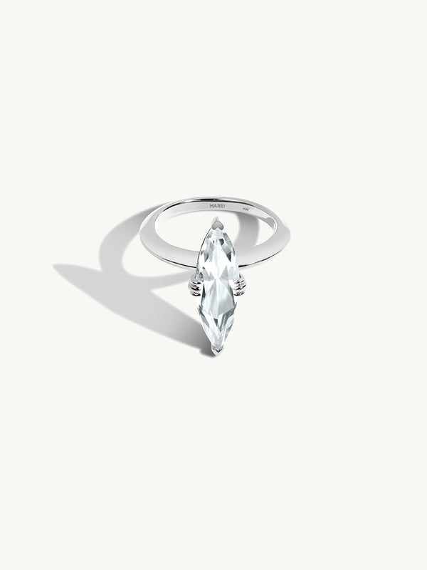 Marei Beveled Edge Solitaire Engagement Ring With Marquise-Cut White Aquamarine In Platinum