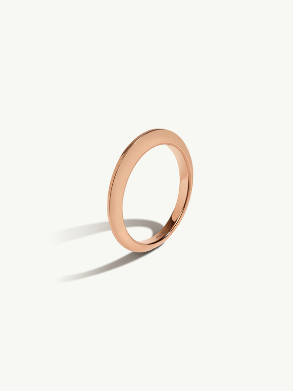 Marei Beveled Edge Wedding Band in 18K Rose Gold