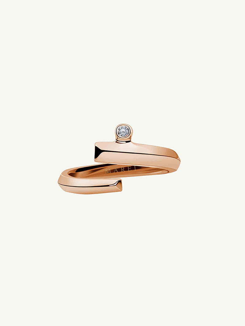 Pythia Coil Diamond Ring in Rose Gold