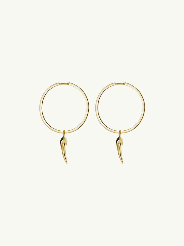 Damian Horn Hoop Earrings in 14K Yellow Gold