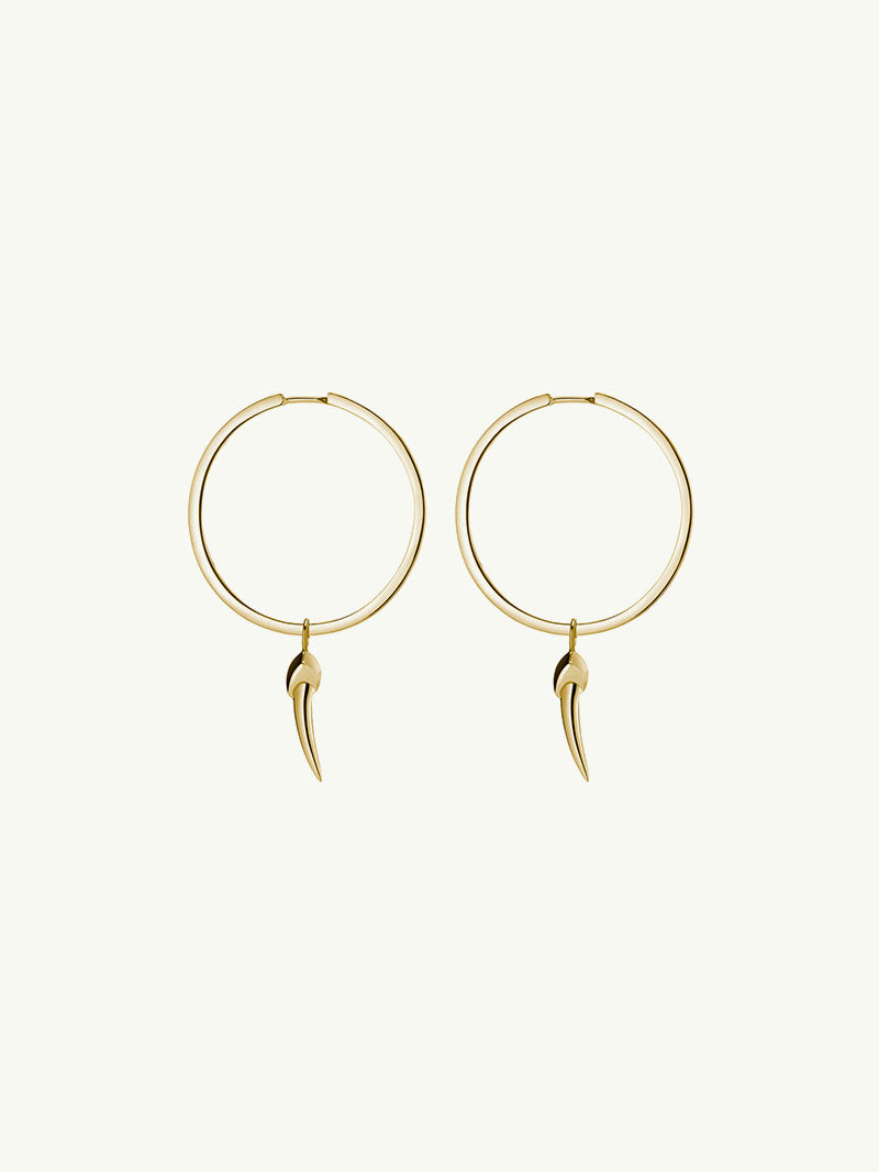 Ready To Ship - Damian Horn Hoop Earrings in Yellow Gold