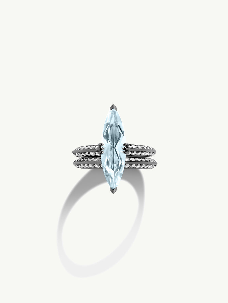Marei Engagement Ring with Marquise-Cut Blue Aquamarine and Pavé Diamonds in 18K Blackened Gold