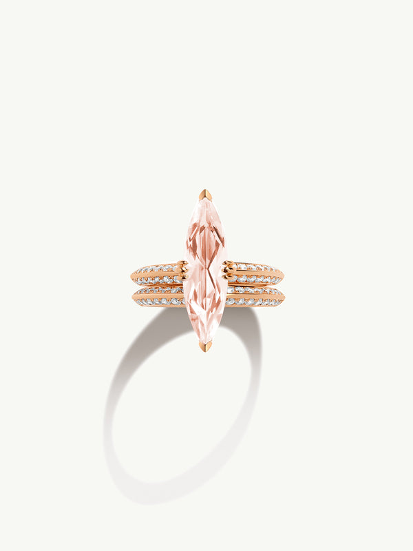 Marei Engagement Ring with Marquise-Cut Morganite and Diamonds in Rose Gold