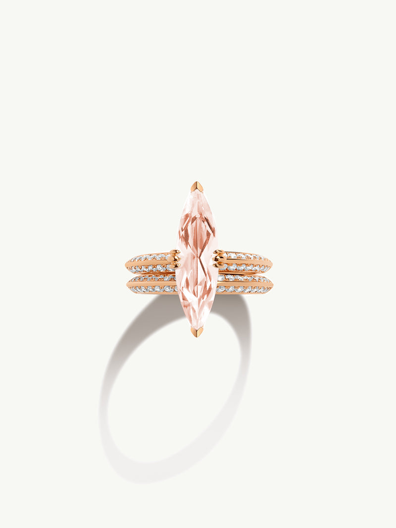 Marei Engagement Ring with Marquise-Cut Morganite and Diamonds in 18K Rose Gold