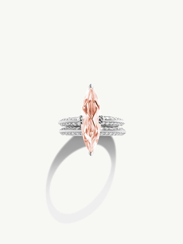 Marei Engagement Ring with Marquise-Cut Morganite and Diamonds in 18K White Gold
