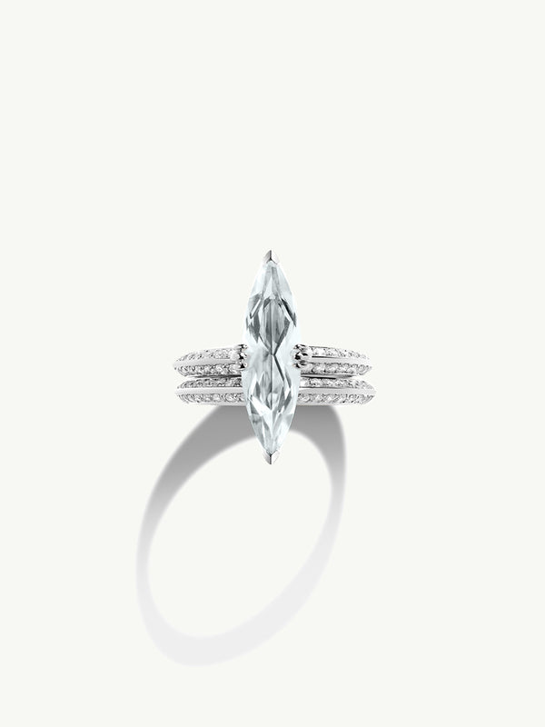 "Marei Pavé Diamond ""Halo"" Engagement Ring With Marquise-Cut White Aquamarine In 18K White Gold"