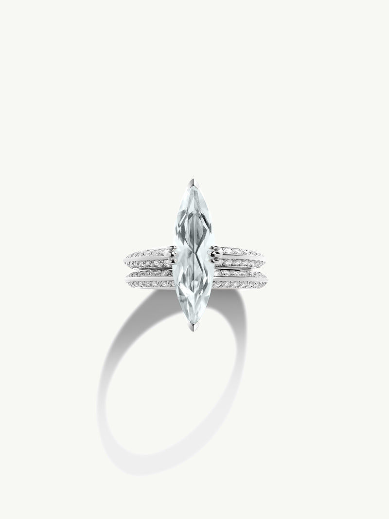 "Marei Pavé Diamond ""Halo"" Engagement Ring with Marquise-Cut White Aquamarine in Platinum"