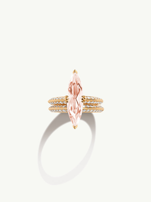 Marei Engagement Ring with Marquise-Cut Morganite and Diamonds in Yellow Gold