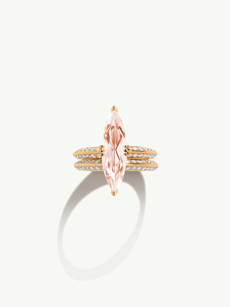 Marei Engagement Ring with Marquise-Cut Pink Morganite and Pavé Diamonds in 18K Yellow Gold