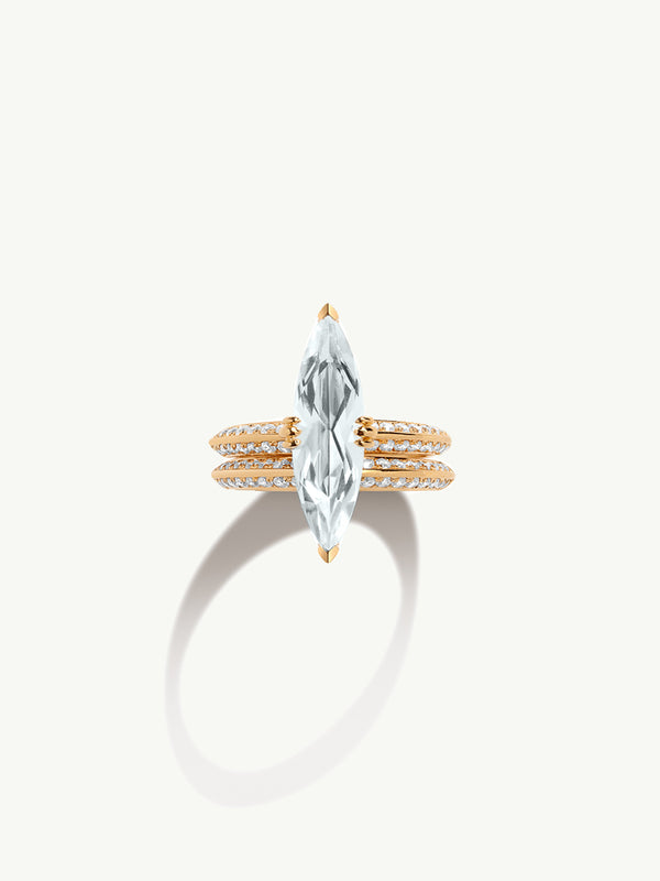 "Marei Marquise Engagement Ring With Diamond ""Halo"" and White Aquamarine In 18K Yellow Gold"