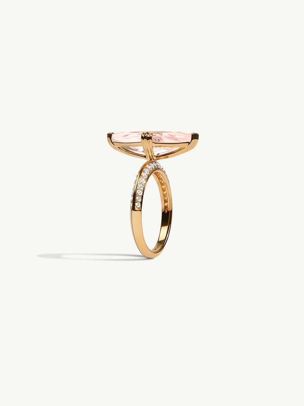 Marei Engagement Ring with Marquise-Cut Morganite and Diamonds in 18K Yellow Gold