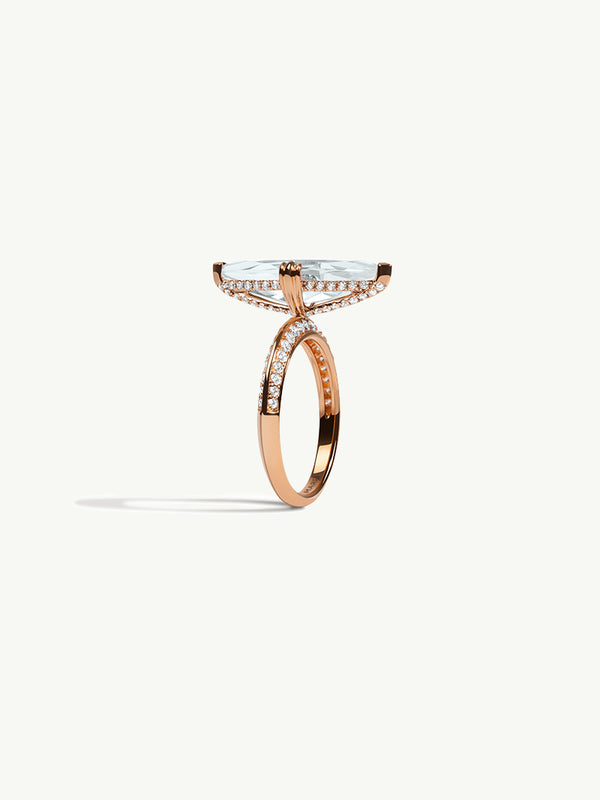 Marei Diamond Halo Engagement Ring with Marquise-Cut White Aquamarine in 18K Rose Gold
