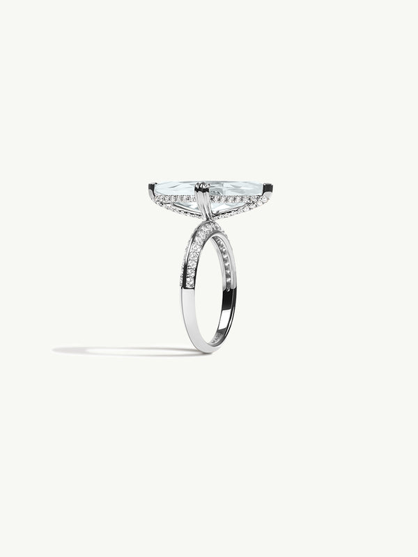 "Marei Marquise Engagement Ring with Diamond ""Halo"" and White Aquamarine in 18K White Gold"