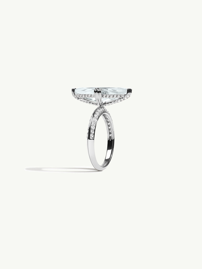 Marei Diamond Halo Engagement Ring with Marquise-Cut White Aquamarine in White Gold