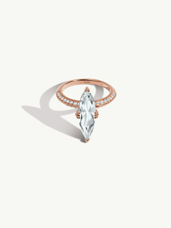 Marei Engagement Ring with Marquise-Cut White Aquamarine and Diamonds in Rose Gold