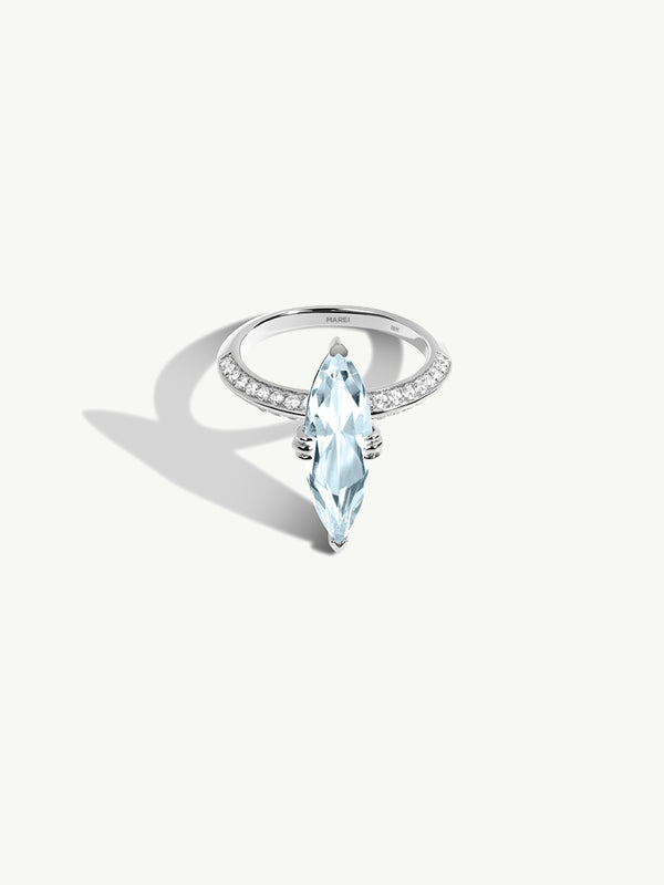 Marei Engagement Ring with Marquise-Cut Blue Aquamarine and Pavé Diamonds in Platinum