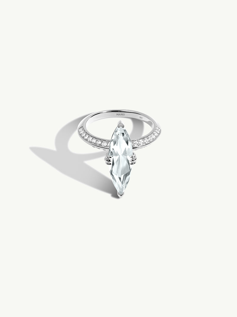 Marei Engagement Ring with Marquise-Cut White Aquamarine and Diamonds in White Gold