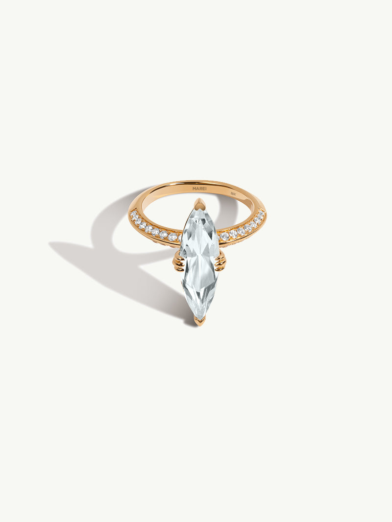 "Marei Pavé Diamond ""Halo"" Engagement Ring With Marquise-Cut White Aquamarine In 18K Yellow Gold"