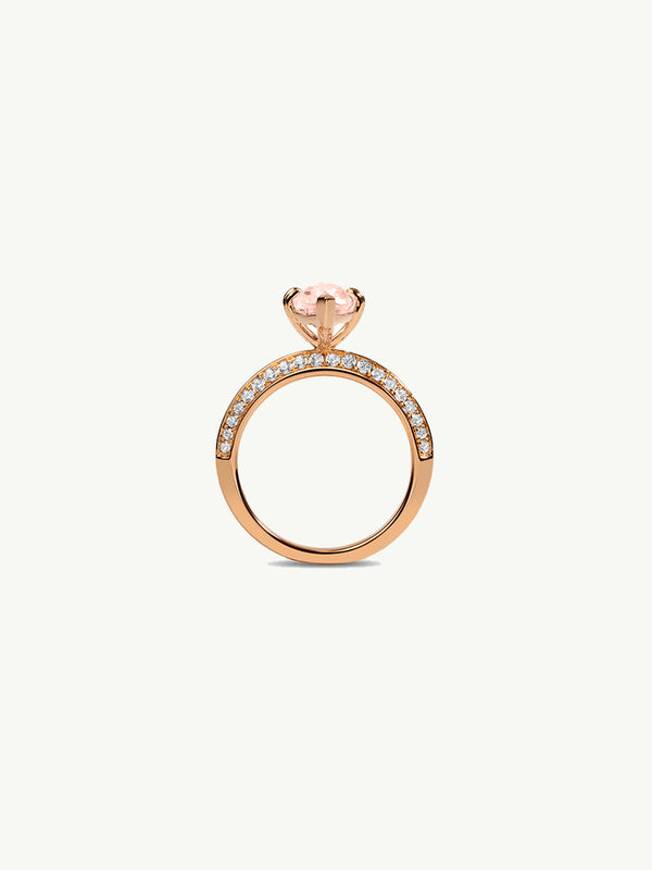 Marei Engagement Ring With Marquise-Cut Pink Morganite And Pavé Diamonds In 18K Rose Gold