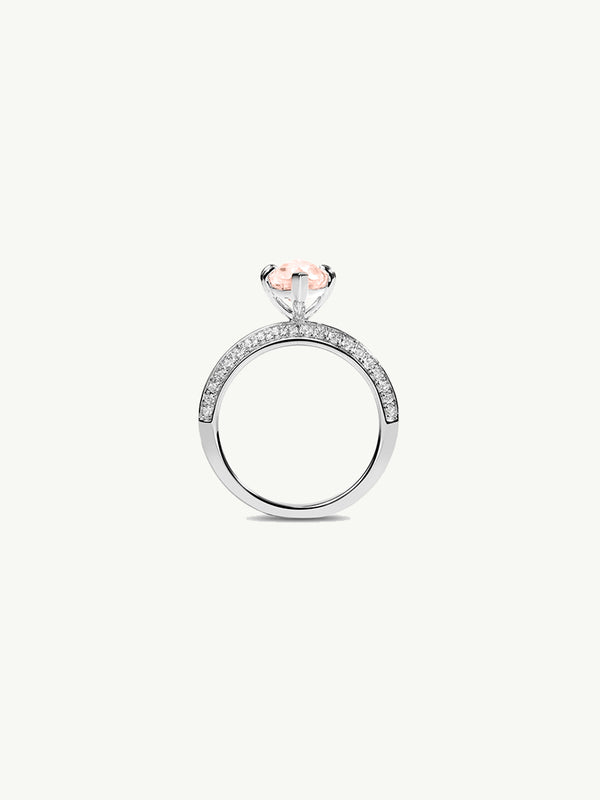 Marei Engagement Ring with Marquise-Cut Morganite and Diamonds in White Gold