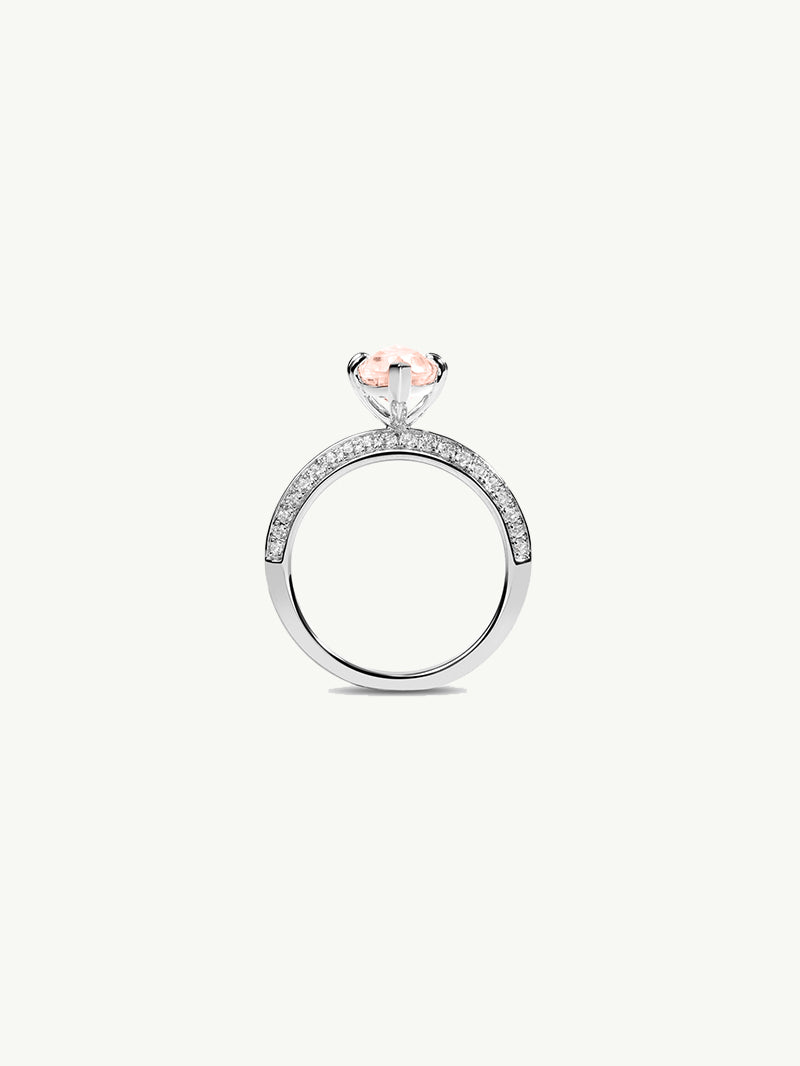Marei Engagement Ring with Marquise-Cut Pink Morganite and Pavé Diamonds in 18K White Gold