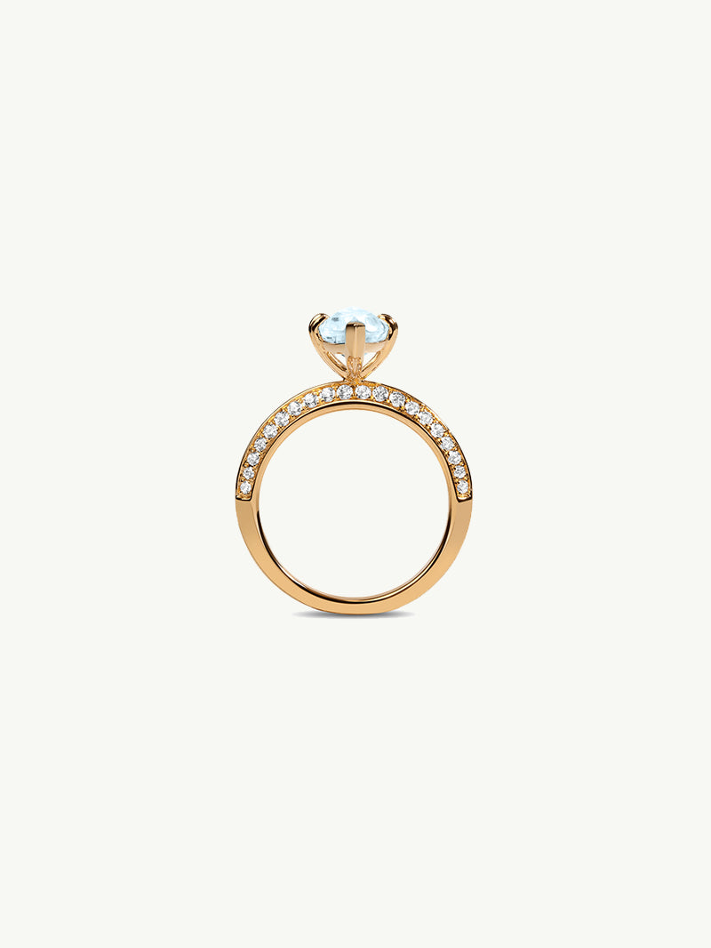 Marei Engagement Ring With Marquise-Cut Blue Aquamarine And Pavé Diamonds In 18K Yellow Gold