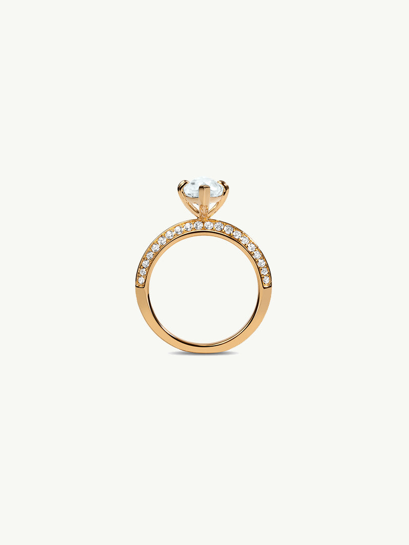Marei Engagement Ring With Marquise-Cut White Aquamarine And Pavé Diamonds In 18K Yellow Gold