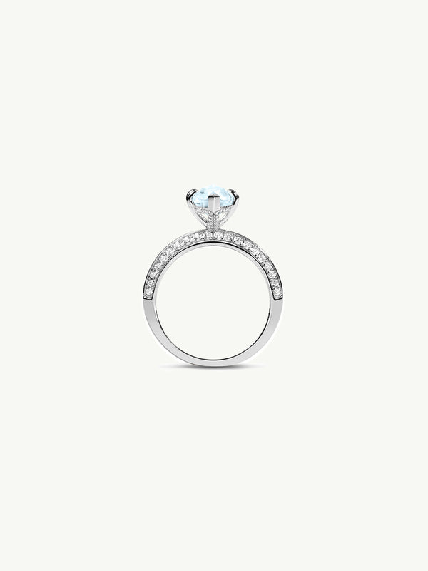 "Marei Marquise Engagement Ring with Diamond ""Halo"" and Blue Aquamarine in Platinum"