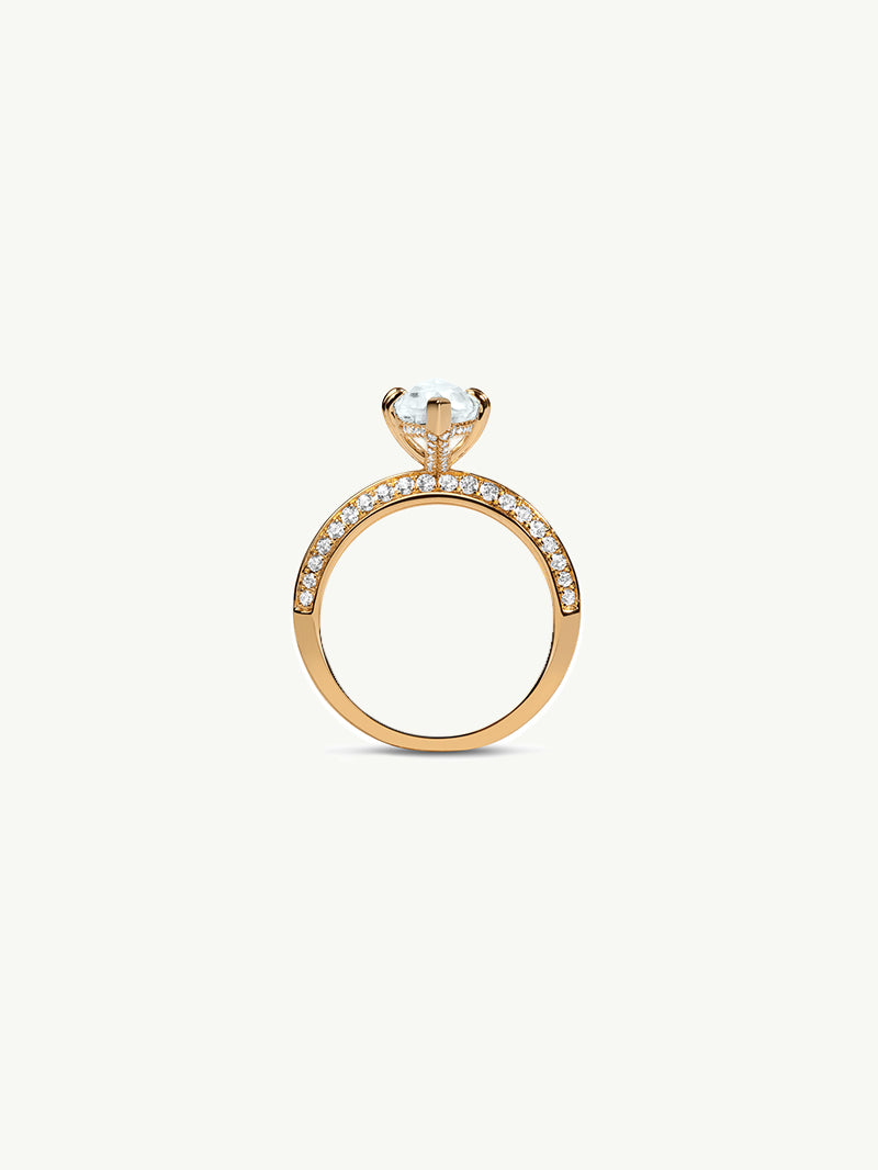 Marei Diamond Halo Engagement Ring with Marquise-Cut White Aquamarine in 18K Yellow Gold