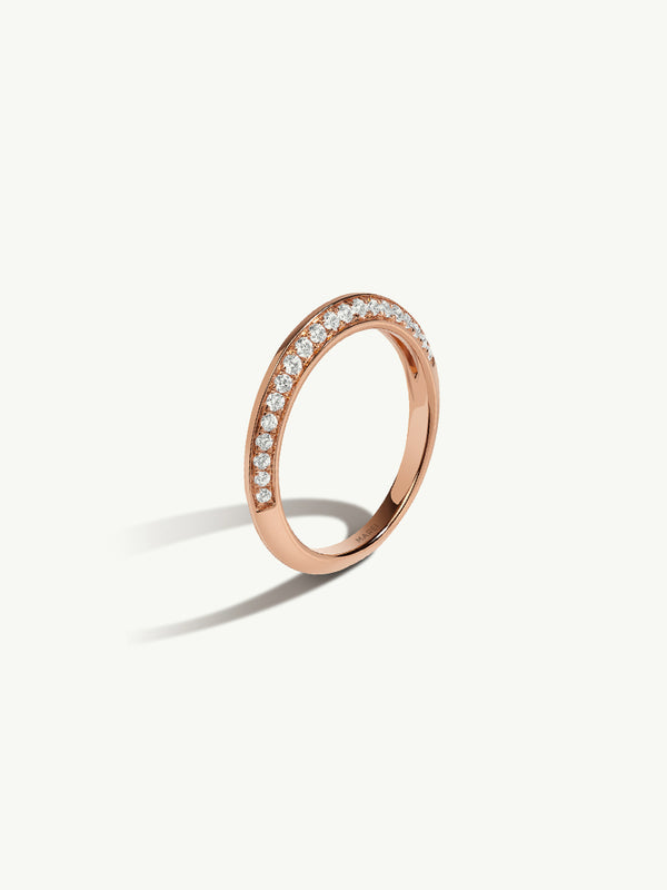 Marei Beveled Edge Pavé Diamond Band In 18K Rose Gold
