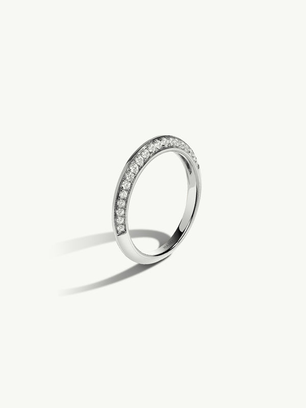 Marei Beveled Edge Pavé Diamond Band In 18K White Gold