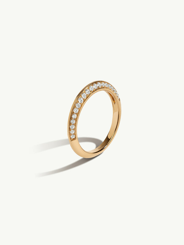 Marei Pavè Diamond Edge Wedding Band in Yellow Gold