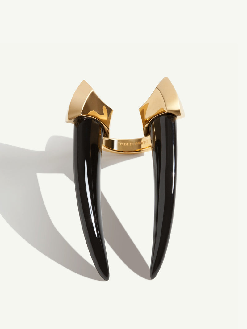 Damian Onyx Horn Ring in Yellow Gold
