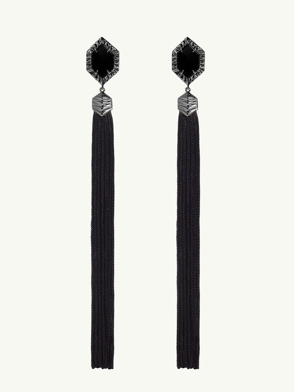 Alexandria Black Onyx Tassel Earrings In Black Gold