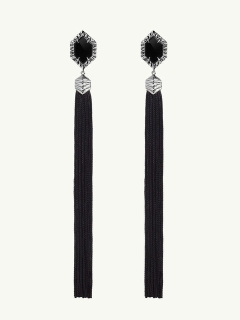 Alexandria Black Tassel Earrings in Sterling Silver