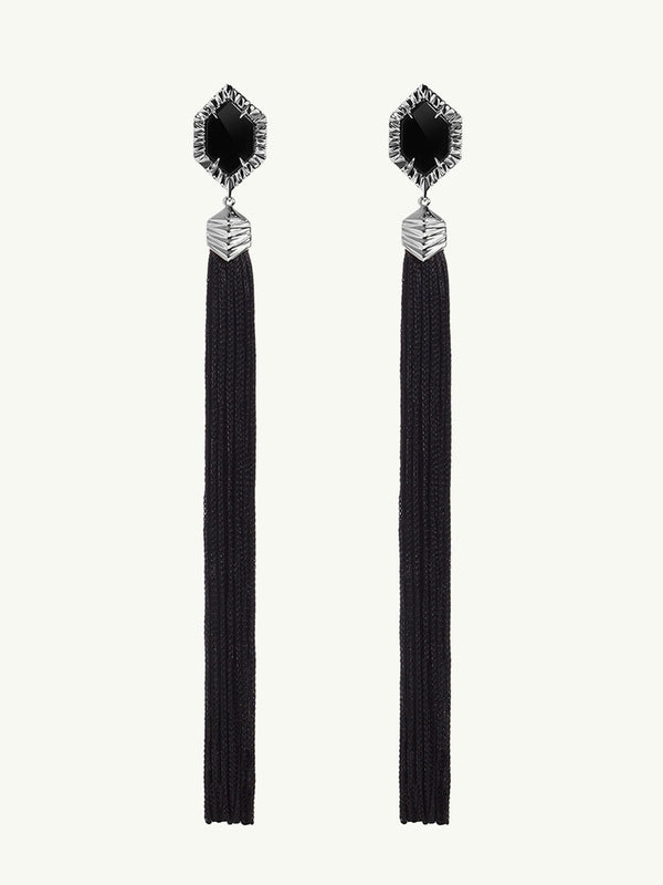 Alexandria Black Onyx Tassel Earrings In 18K White Gold