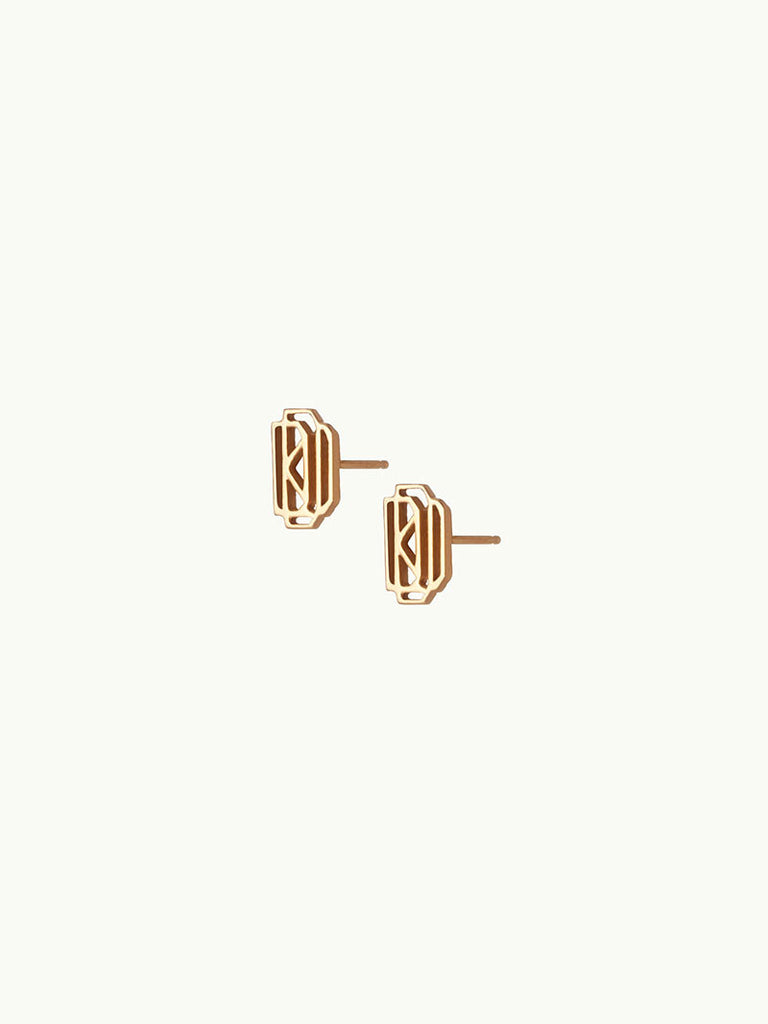 18K Gold Monogram Stud Earrings