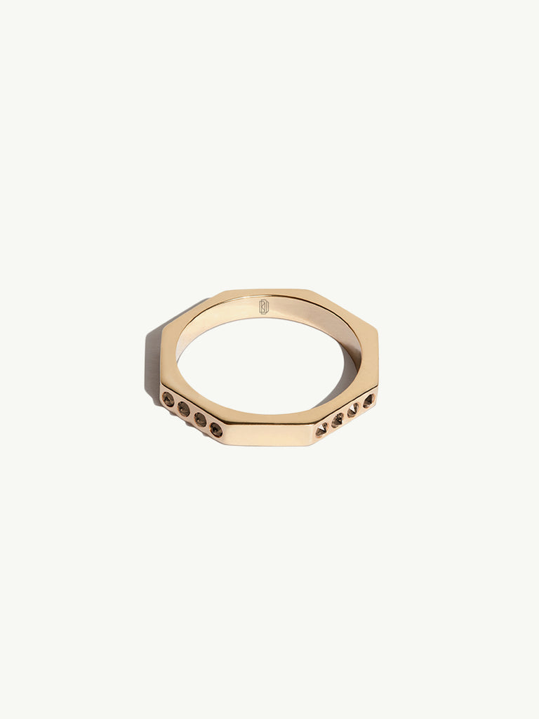 1.5mm Octavian Ring in Yellow Gold and Cognac Diamonds