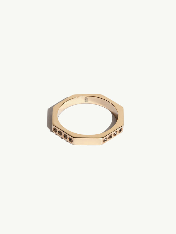 Octavian Cognac Diamond Ring in 18K Yellow Gold - 1.5mm
