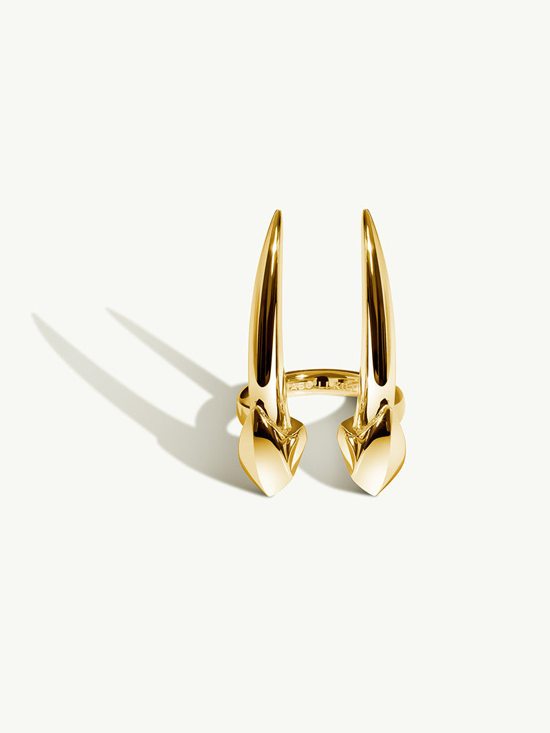 Ready To Ship - Damian Brevis Horn Ring In Yellow Gold