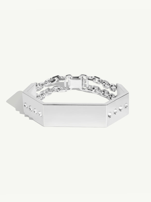 Octavian Sterling Silver and Diamond Women's ID Bracelet