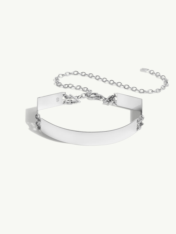 Roman Hinged Choker Necklace In Sterling Silver