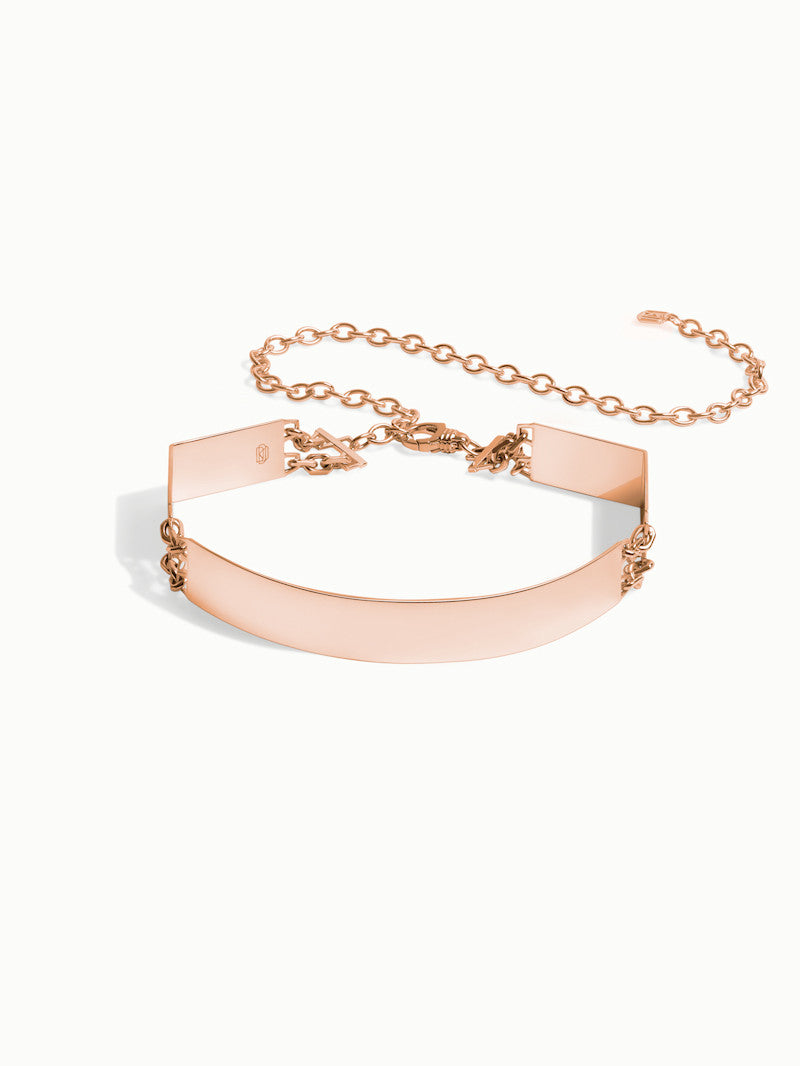 Roman Hinged Choker Necklace In Rose Gold Vermeil