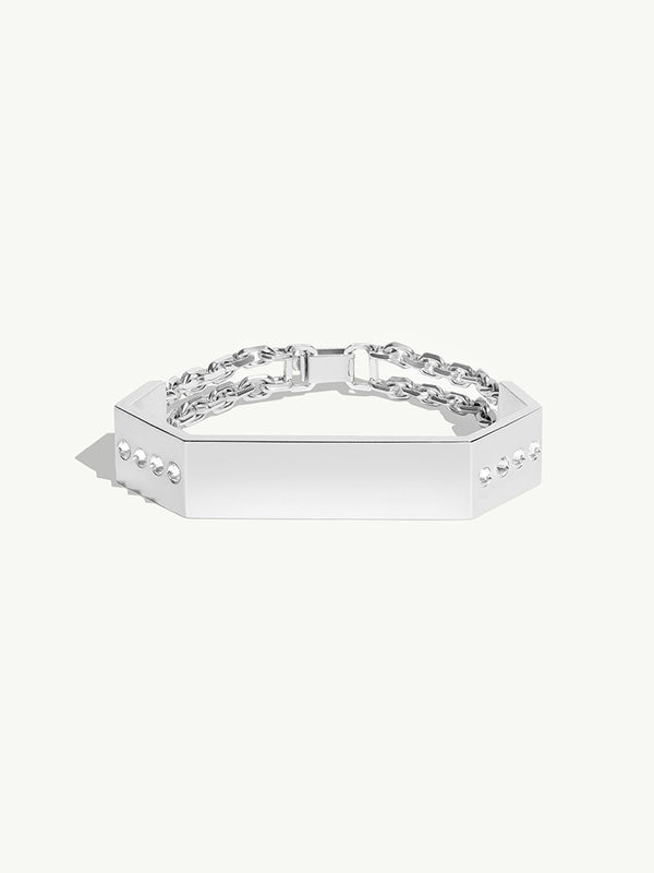 Octavian White Diamond Geometric Men's Bracelet in Sterling Silver