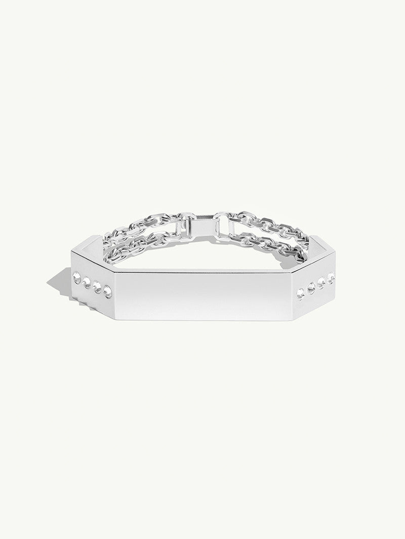 Octavian Brilliant-Cut White Diamond Geometric ID Bracelet In Sterling Silver - Large