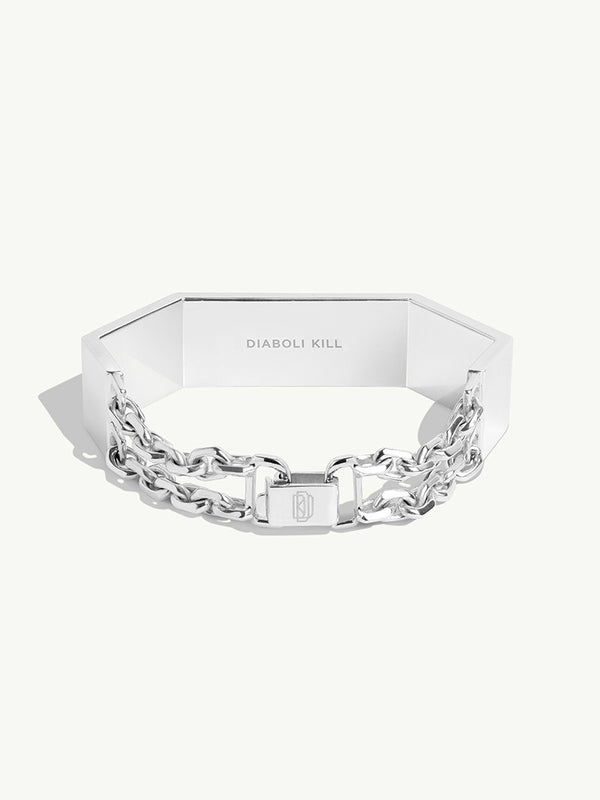 Octavian White Diamond Geometric Women's Bracelet in Sterling Silver