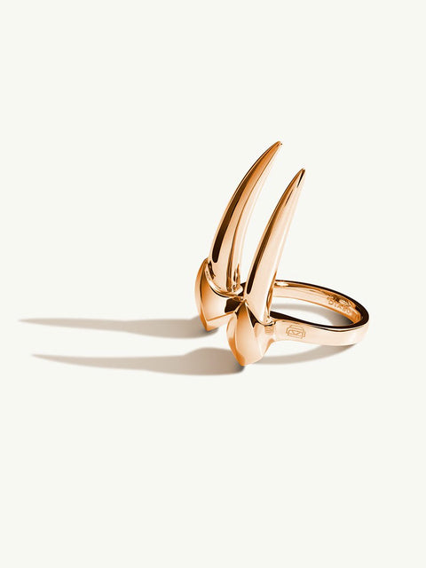 Damian Brevis Horn Ring In 18K Rose Gold