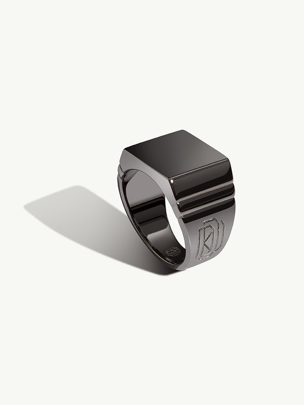 Adrian Men's Black Gold Signet Ring - Diaboli Kill Jewelry - image 1