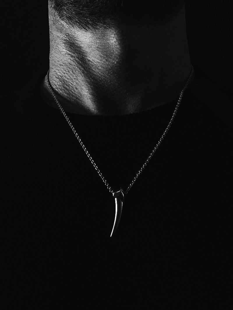 Damian Brevis Horn Pendant Necklace in Black Silver